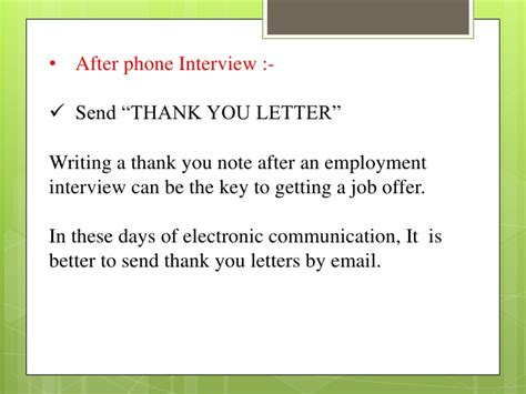 Thank You Note After Phone Screening Telephonic