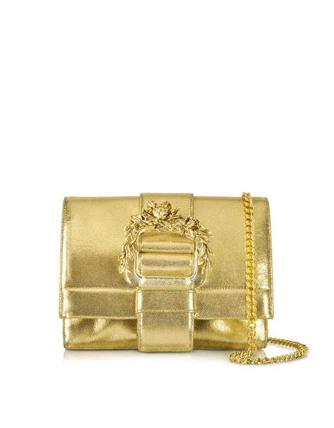 Roberto Cavallis Plain Patent Leather Clutch by Roberto Cavalli Small Light Gold Metallic Leather Clutch W
