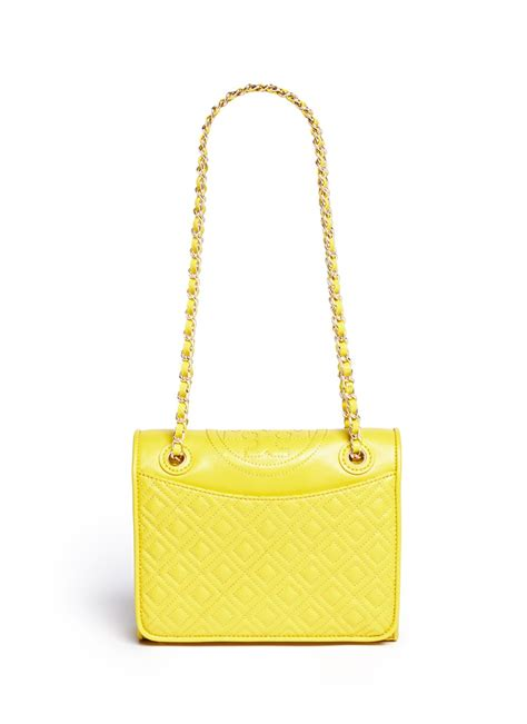 Burch Fleming Medium Quiled burch fleming medium quilted leather bag in yellow lyst