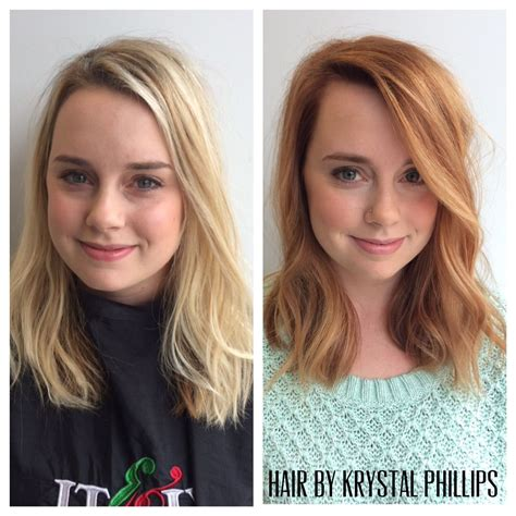 haircut before dye before and after from light blonde to strawberry blonde