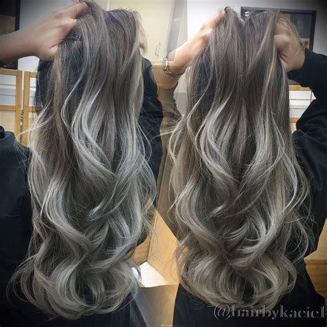 ash blonde brown balayage hair ash blonde with silver tips ombre balayage long layers