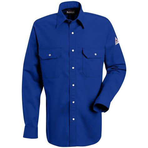 blue uniform men s bulwark 174 flame resistant snap front uniform