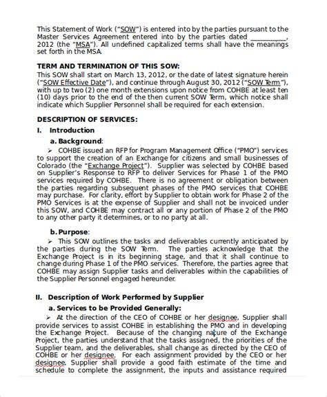 exles of statement of work template statement of work template 12 free pdf word excel