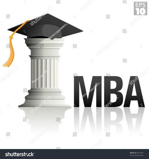 Graduation Hat Mba by Mba Education Column Graduation Hat Stock Vector