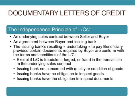 Letter Of Credit Ucc Documentary Collection Letters Of Credit