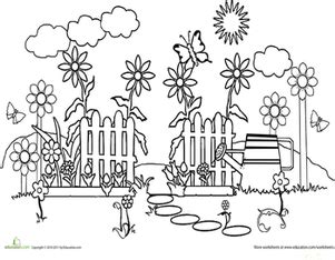 garden coloring worksheet color the garden path worksheet education