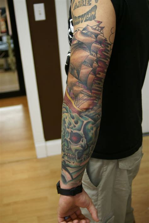 ryan cullen classic tattoos shipwreck sleeve