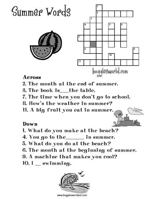 printable crossword puzzle for english learners summer worksheets for kids and esl teachers