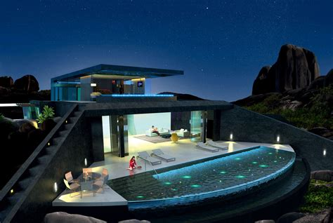 homes with pool home with infinity pool and glass bottomed pool rendered in 3d