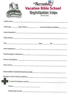 Printable Vbs Registration Form Template Conference Pinterest Registration Form Template Children S Church Registration Form Template