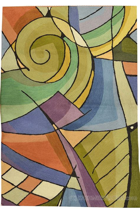 contemporary accent rugs kandinsky green purple wool rug wall tapestry hand
