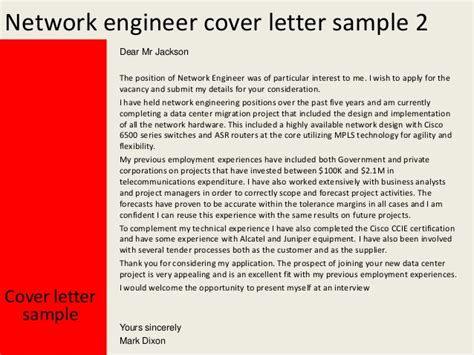 cover letter for network engineer network engineer cover letter