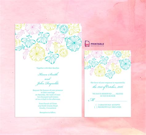 printable invitation kits com 2016 spring blooms wedding invitation and rsvp set
