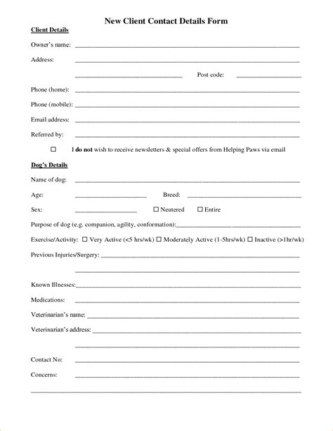 new client template new client setup form template