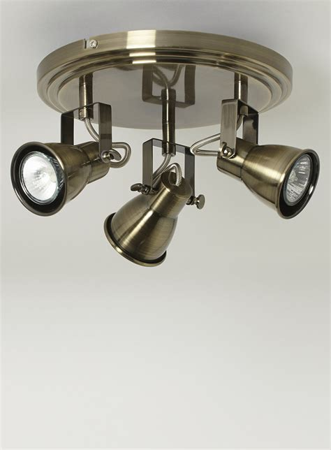 vintage style antique brass 3 way ceiling spot light