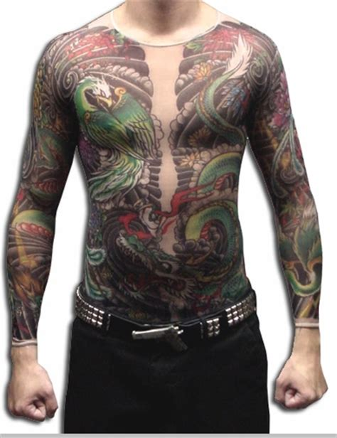 full body dragon tattoo male men s geisha dragon full body tattoo shirt
