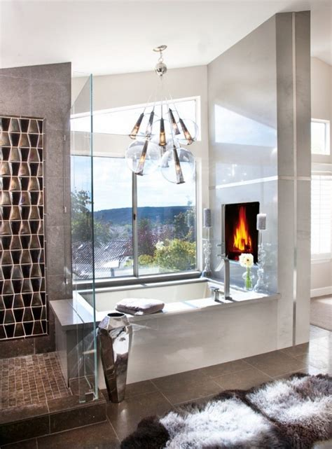 Fireplace In Bathroom Wall by Ideas For Bathroom With Fireplace Of Spa In Your Own Home