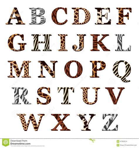 animal pattern font set of alphabet letters with animal fur patterns stock