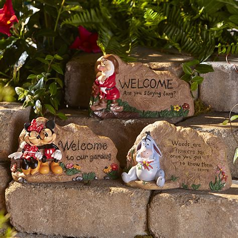 disney garden rock mickey and minnie mouse outdoor living outdoor decor lawn ornaments