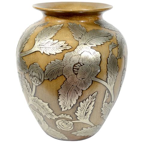 Pottery Vase Designs by Ceramic Pottery Urn Vase With Relief Designs In Silver