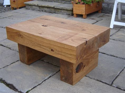 Sleeper Table by Coffee Table With New Oak Railway Sleepers