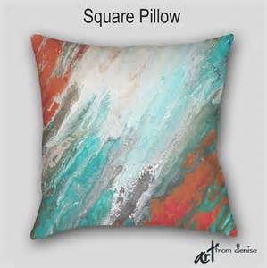 throw pillow teal aqua gray coral abstract designer