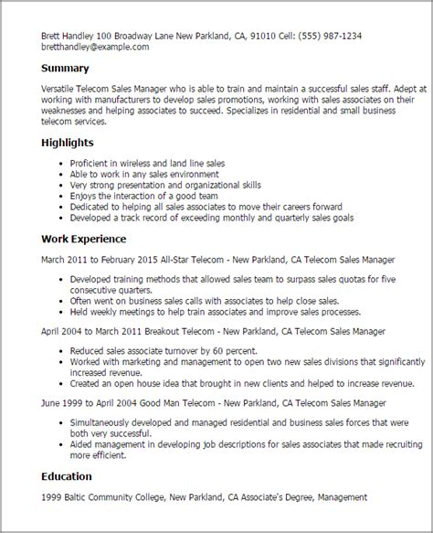 Church Communications Director Sle Resume by Professional Telecom Sales Manager Templates To Showcase Your Talent Myperfectresume