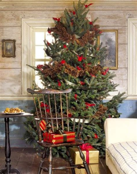 country tree decorating ideas rustic tree with pine cone garlands and