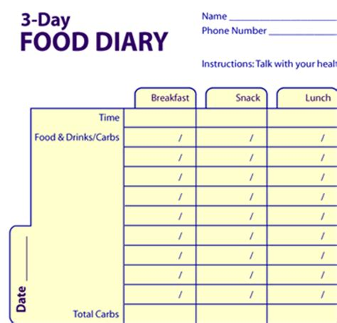 printable children s food diary 3 day food diary