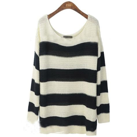Witchery Twisted Sleeve Stripe Blouse White Stripe black and white striped tops polyvore black white striped