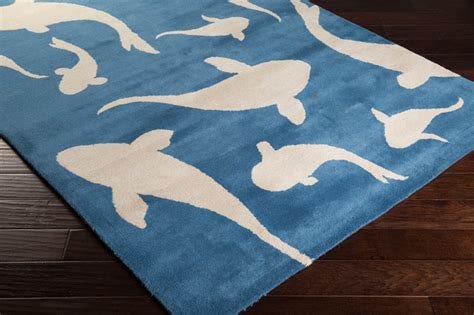 rug shark swimming sharks rug in cobalt by surya rosenberryrooms