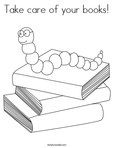 color my coloring book two books take care of your books coloring page twisty noodle