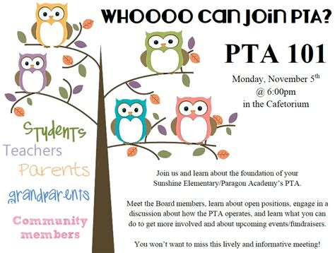 pta meeting flyer nice graphics and very welcoming pto