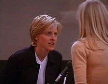 Still shot of a television show from 1997 showing ellen degeneres
