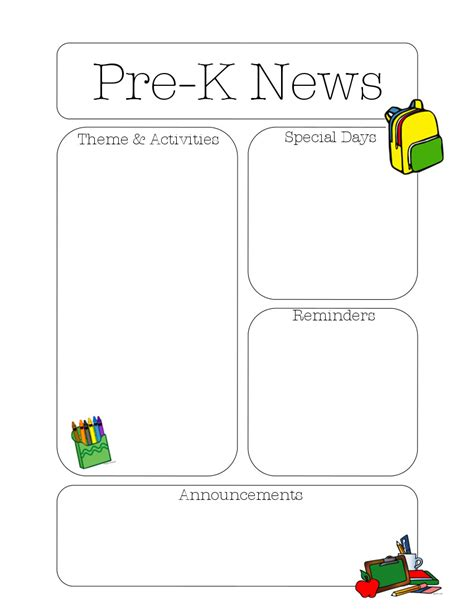 the crafty teacher pre k newsletter template