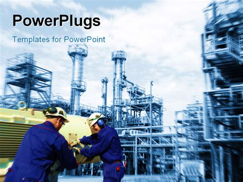 engineering powerpoint template engineers workers inside large and fuel industry