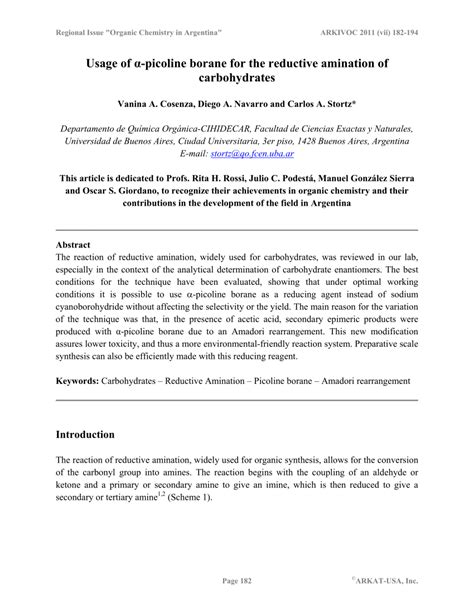 carbohydrates usage usage of α picoline borane for the reductive amination of