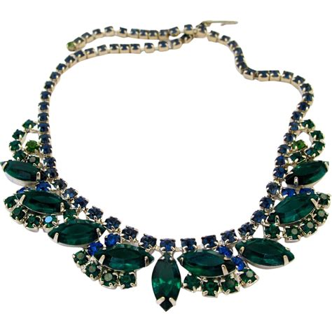 Rhinestone Necklace vintage green rhinestone special occasion necklace from