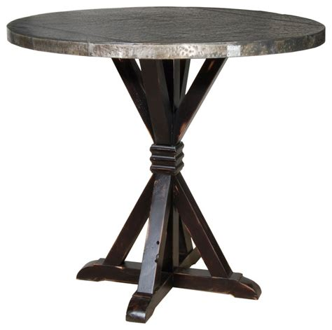carlo bar table with zinc top rustic indoor pub and