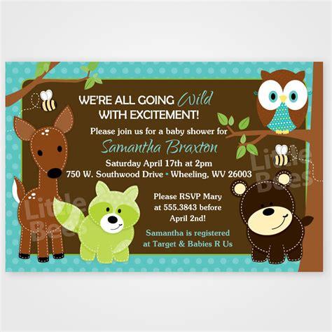 printable animal baby shower invitations woodland forest animal friends printable baby shower or