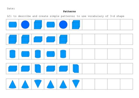 repeating patterns worksheet tes 3 d shape repeating patterns by renosparks uk teaching