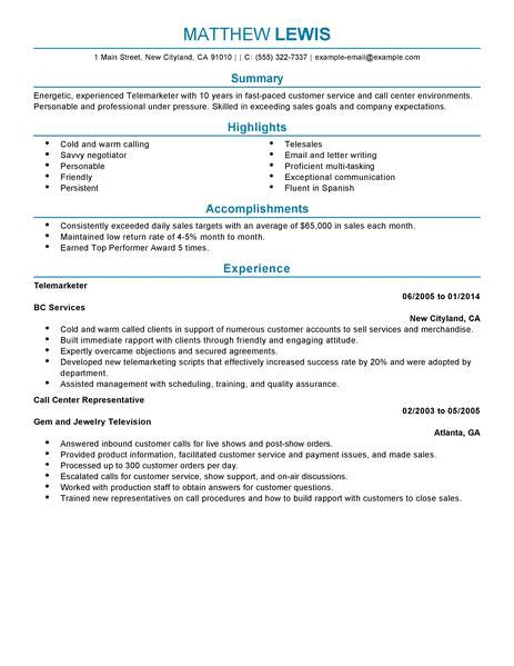 Resume Sle For Telemarketing Sales Best Experienced Telemarketer Resume Exle Livecareer