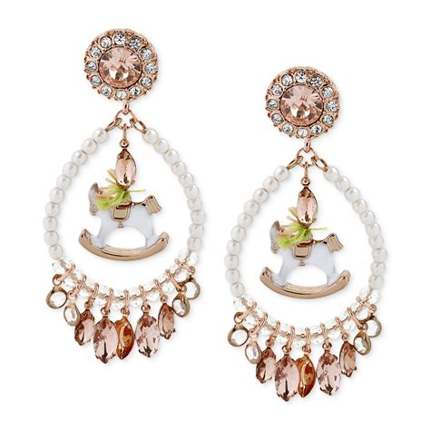 Beaded Chandelier Earrings Betsey Johnson Goldtone Beaded Rocking Chandelier Earrings In White No Color Lyst