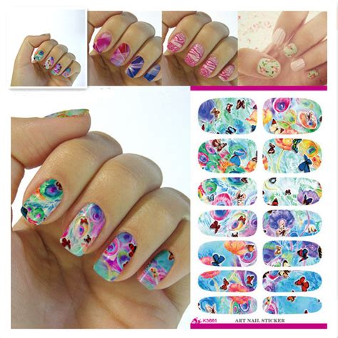 manicure stickers k5661 water transfer foil nails sticker rainbow butterfly