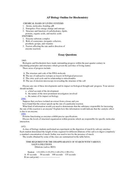 research paper on biochemistry ap biology outline for biochemistry 6 ap biology course