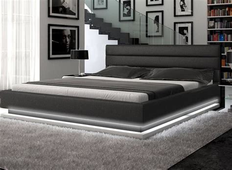 Black Modern Bed Frame Contemporary Black Leather Platform Bed With Lights Contemporary Bedroom Other Metro By