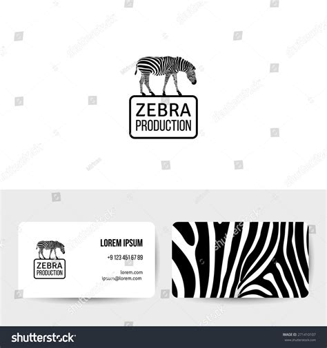 zebra business card background template logo design black white zebra silhouette stock vector