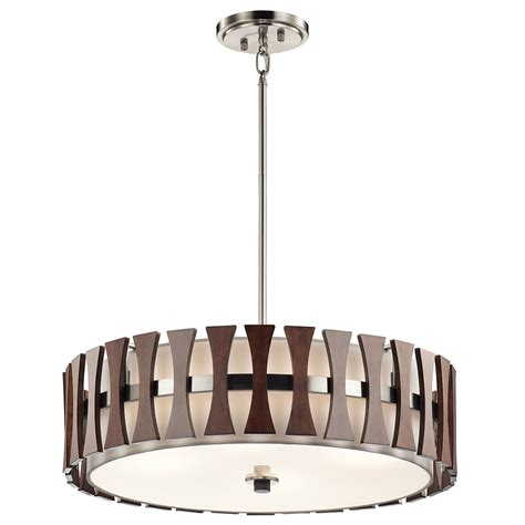 pendant drum lighting kichler 43753aub cirus modern auburn stained drum pendant