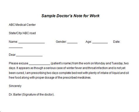 doctors note template free sle doctor note template 19 free documents in pdf word