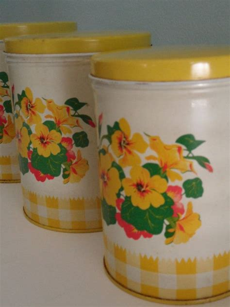 vintage yellow kitchen canisters set of three